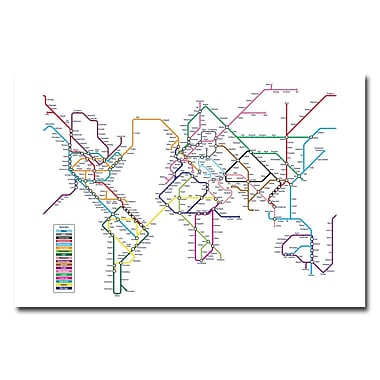 Trademark Fine Art Michael Tompsett 'World Map-Subway' Canvas Art 30x47 Inches