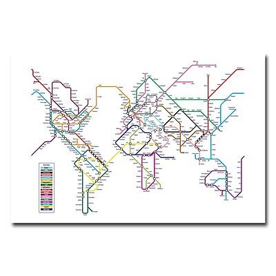 Trademark Fine Art Michael Tompsett 'World Map-Subway' Canvas Art 16x24 Inches