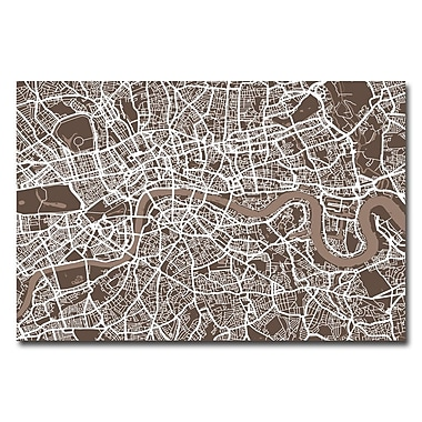 Trademark Fine Art Michael Tompsett 'London Street Map II' Canvas Art 16x24 Inches