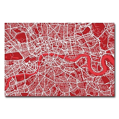 Trademark Fine Art Michael Tompsett 'London Street Map IV' Canvas Art 16x24 Inches