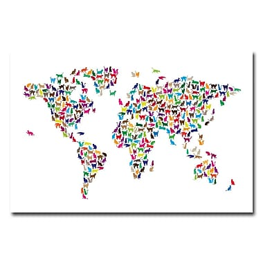 Trademark Fine Art Michael Tompsett 'World Map-Cats' Canvas Art 16x24 Inches