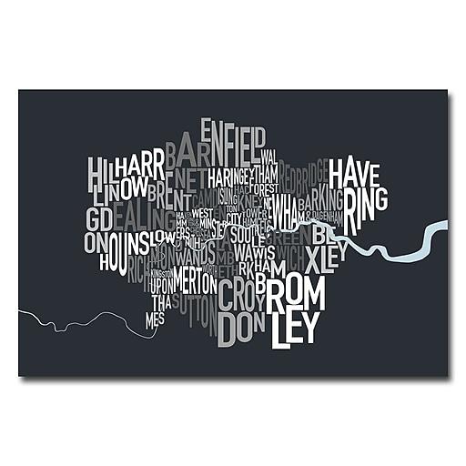 Trademark Fine Art Michael Tompsett 'London Borough Text Map' Canvas Art 16x24 Inches