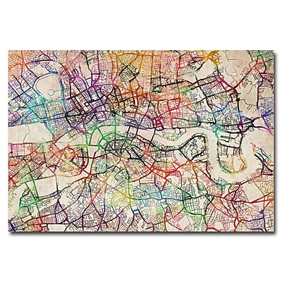 Trademark Fine Art Michael Tompsett 'London Street Map V' Canvas Art 16x24 Inches