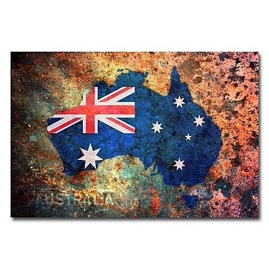 Trademark Fine Art Michael Tompsett 'Australia Flag Map' Canvas Art 16x24 Inches