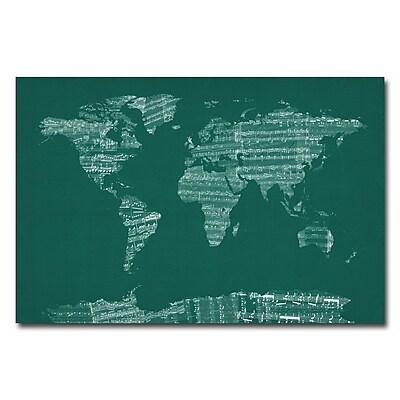 Trademark Fine Art Michael Tompsett 'World Sheet Music Map in Green' Canvas Art 22x32 Inches