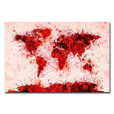 Trademark Fine Art Michael Tompsett 'World Map-Red Paint Splashes' Canvas Art 16x24 Inches