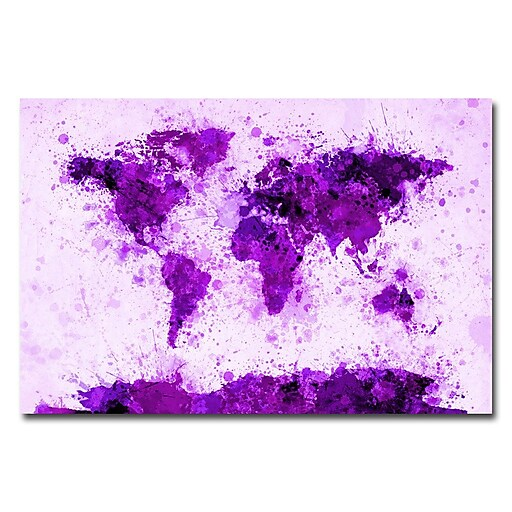 Trademark Fine Art Michael Tompsett 'World Map-Purple Paint Splashes' Canvas 30x47 Inches