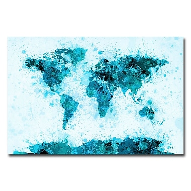 Trademark Fine Art Michael Tompsett 'World Map-Paint Splashes' Canvas Art 22x32 Inches