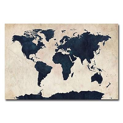 Trademark Fine Art Michael Tompsett 'World Map-Navy' Canvas Art 16x24 Inches
