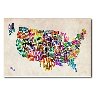 Trademark Fine Art Michael Tompsett 'US States Text Map' Canvas Art 16x24 Inches