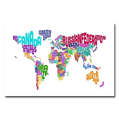 Trademark Fine Art Michael Tompsett 'Typographic Text Map' Canvas Art 30x47 Inches