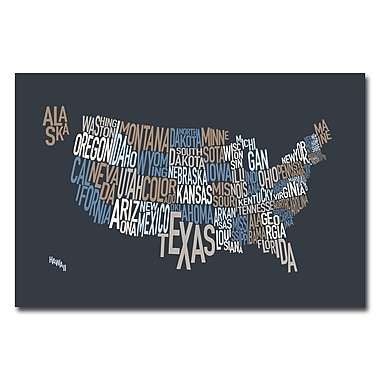 Trademark Fine Art Michael Tompsett 'United States Text Map' Canvas Art 16x24 Inches