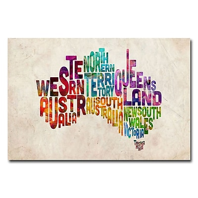 Trademark Fine Art Michael Tompsett 'Australia States Text Map' Canvas Art 16x24 Inches