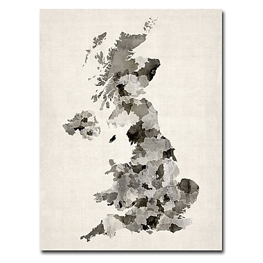 Trademark Fine Art Michael Tompsett 'UK Watercolor Map' Canvas Art 18x24 Inches