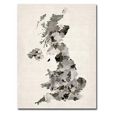 Trademark Fine Art Michael Tompsett 'UK Watercolor Map' Canvas Art 18x24 Inches