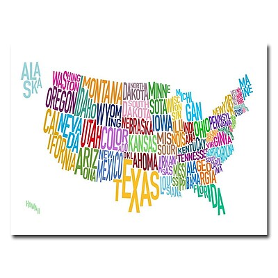 Trademark Fine Art Michael Tompsett 'United States Text Map' Canvas Art 18x24 Inches