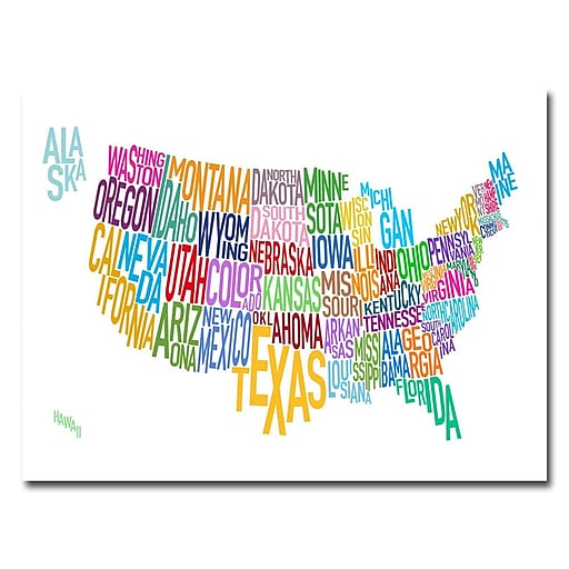 Trademark Fine Art Michael Tompsett 'United States Text Map' Canvas Art 18x24 Inches