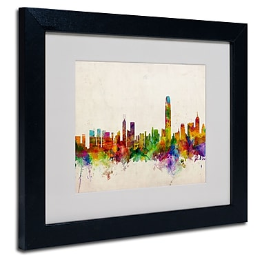 Trademark Fine Art Michael Tompsett 'Hong Kong Skyline' Matted Art Black Frame 16x20 Inches