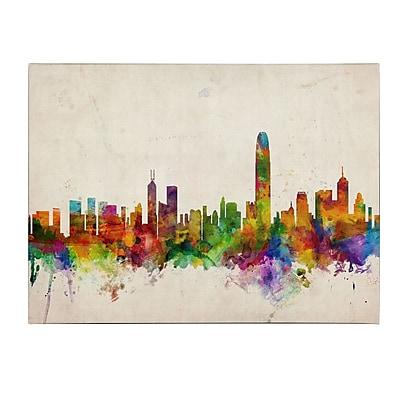 Michael Tompsett 'Hong Kong Skyline' Matted Framed Art - 11x14 Inches - Wood Frame