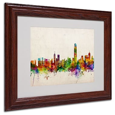 Michael Tompsett 'Hong Kong Skyline' Matted Framed Art - 16x20 Inches - Wood Frame
