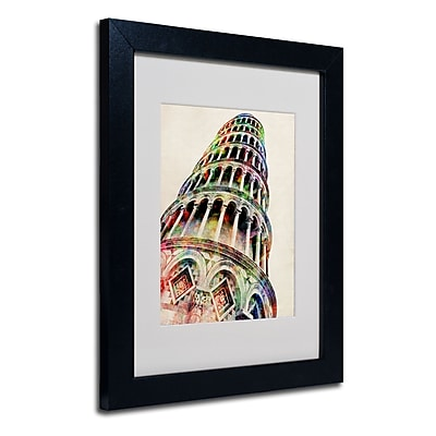 Trademark Fine Art Michael Tompsett 'Leaning Tower Pisa' Matted Art Black Frame 16x20 Inches