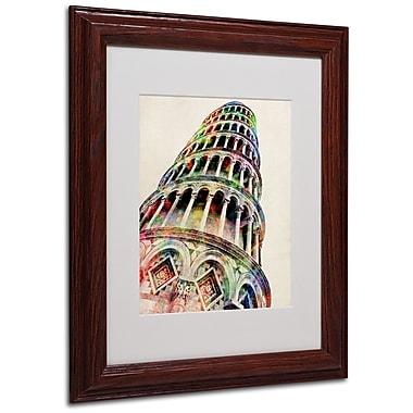 Michael Tompsett 'Leaning Tower Pisa' Matted Framed Art - 16x20 Inches - Wood Frame