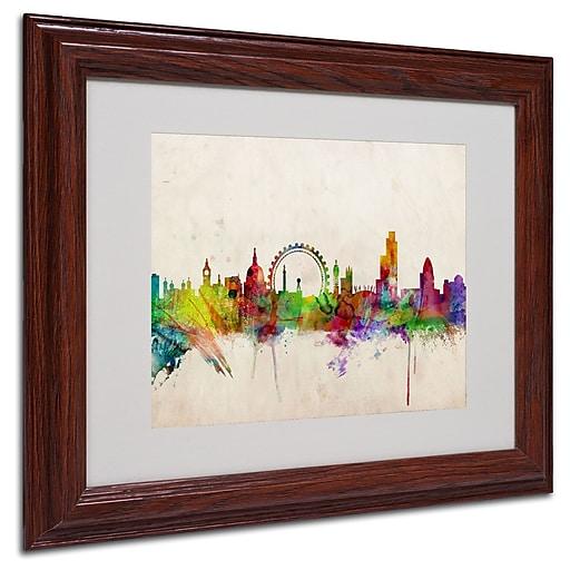 Michael Tompsett 'London Skyline' Matted Framed Art - 16x20 Inches - Wood Frame
