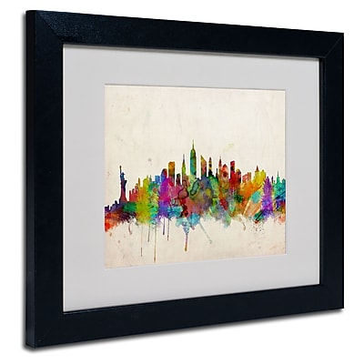 Trademark Fine Art Michael Tompsett 'New York Skyline' Matted Art Black Frame 11x14 Inches