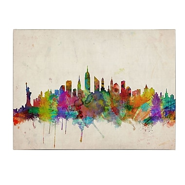 Michael Tompsett 'New York Skyline' Matted Framed Art - 11x14 Inches - Wood Frame