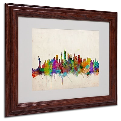 Michael Tompsett 'New York Skyline' Matted Framed Art - 16x20 Inches - Wood Frame
