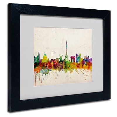 Trademark Fine Art Michael Tompsett 'Paris Skyline' Matted Art Black Frame 11x14 Inches