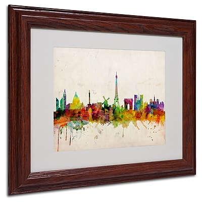 Michael Tompsett 'Paris Skyline' Matted Framed Art - 16x20 Inches - Wood Frame