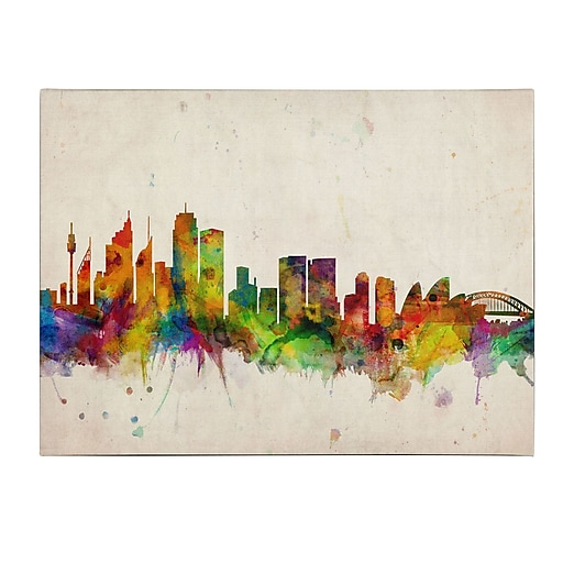 Michael Tompsett 'Sydney Skyline' Matted Framed Art - 11x14 Inches - Wood Frame