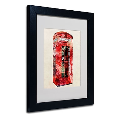 Trademark Fine Art Michael Tompsett 'Telephone Box' Matted Art Black Frame 16x20 Inches