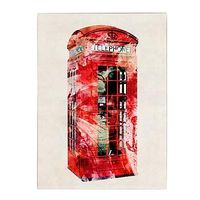 Michael Tompsett 'Telephone Box' Matted Framed Art - 11x14 Inches - Wood Frame