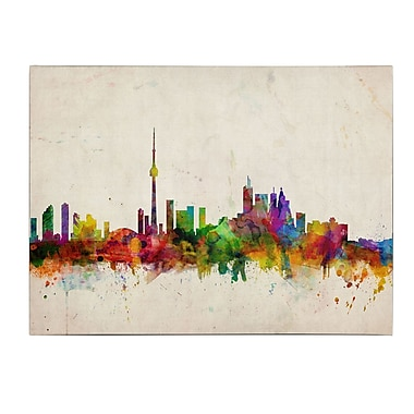 Michael Tompsett 'Toronto Skyline' Matted Framed Art - 11x14 Inches - Wood Frame