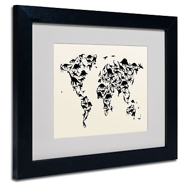 Trademark Fine Art Michael Tompsett 'Dinosaur World Map' Matted Art Black Frame 16x20 Inches