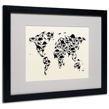 Michael Tompsett 'Dinosaur World Map' Matted Framed Art - 11x14 Inches - Wood Frame
