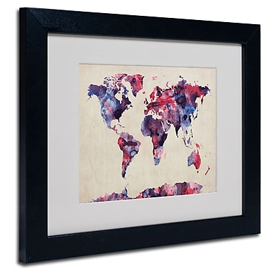 Trademark Fine Art Michael Tompsett 'Watercolor Map' Matted Art Black Frame 11x14 Inches