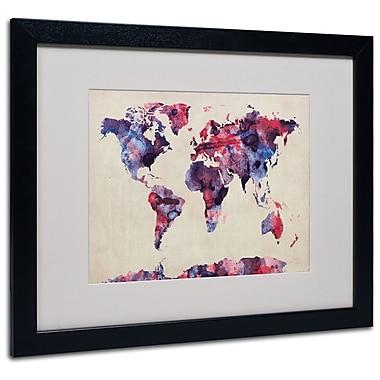 Trademark Fine Art Michael Tompsett 'Watercolor Map' Matted Art Black Frame 16x20 Inches