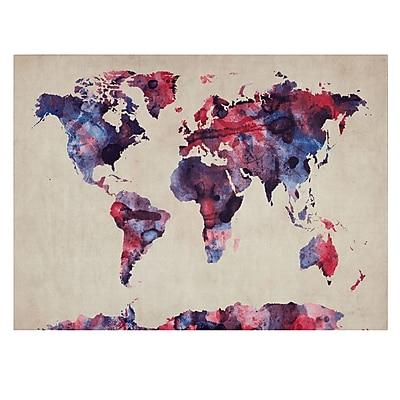 Trademark Fine Art Michael Tompsett 'Watercolor Map' Canvas Art 16x24 Inches
