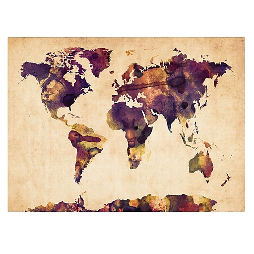 Trademark Fine Art Michael Tompsett 'Watercolor Map 2' Canvas Art 14x19 Inches