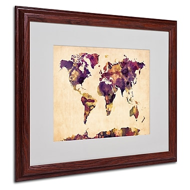 Michael Tompsett 'Watercolor Map 2' Matted Framed Art - 16x20 Inches - Wood Frame