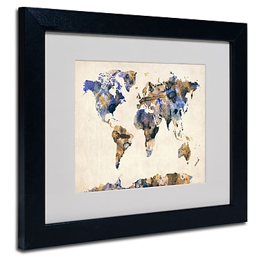 Trademark Fine Art Michael Tompsett 'Watercolor Map 3' Matted Art Black Frame 11x14 Inches