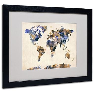 Trademark Fine Art Michael Tompsett 'Watercolor Map 3' Matted Art Black Frame 16x20 Inches