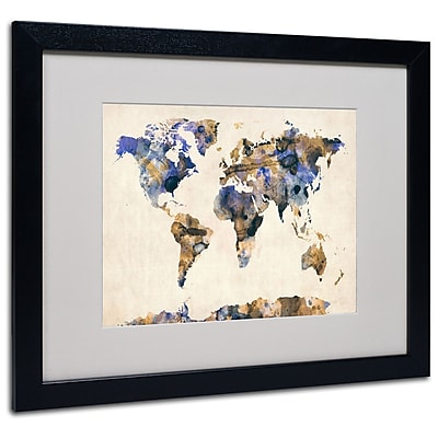 Trademark Fine Art Michael Tompsett 'Watercolor Map 3' Matted Art Black Frame 16x20 Inches