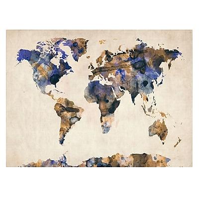 Trademark Fine Art Michael Tompsett 'Watercolor Map 3' Canvas Art 16x24 Inches