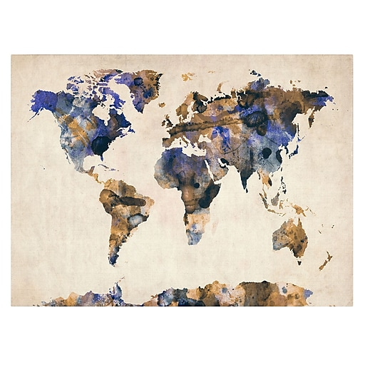 Trademark Fine Art Michael Tompsett 'Watercolor Map 3' Canvas Art 14x19 Inches