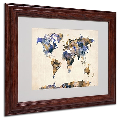 Michael Tompsett 'Watercolor Map 3' Matted Framed Art - 11x14 Inches - Wood Frame