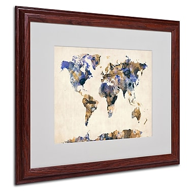 Michael Tompsett 'Watercolor Map 3' Matted Framed Art - 16x20 Inches - Wood Frame